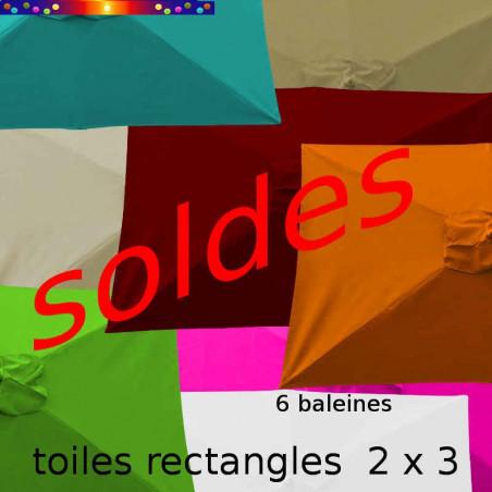 Toile second choix Rectangle 2x3 Toile de remplacement pour parasol rectangle 200 cmx 300 cm 6 baleines