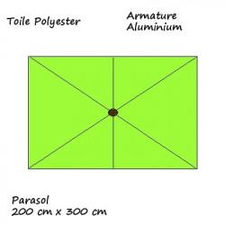 Parasol Lacanau rectangulaire : rectangle 200 x 300 cm Aluminium avec toile couleur Vert Lime : descriptif