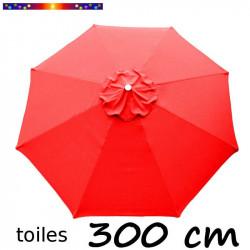 Toile 3°choix : Toile de remplacement pour parasol 300 cm COULEUR ROUGE