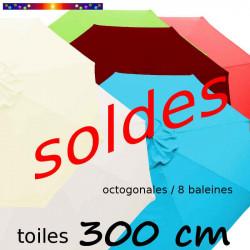 Toile 3°choix : Toile de remplacement pour parasol OCTOGONAL 300 cm toutes les couleurs disponibles