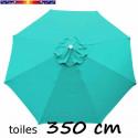 Toile 3°choix : Toile de remplacement pour parasol OCTOGONAL 350 cm Bleu Turquoise