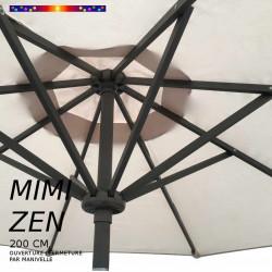 Parasol MiMi-ZEN : toile et armature vues de dessus