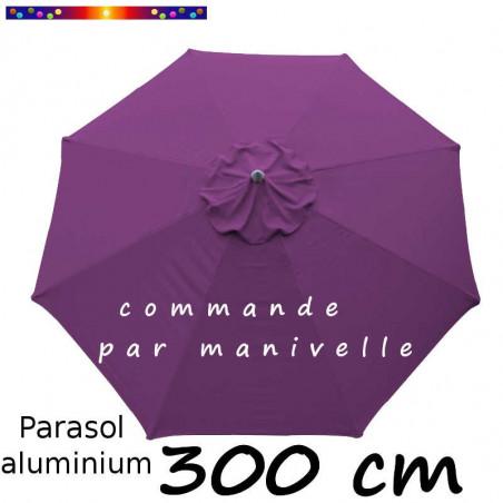 Parasol Lacanau 300 cm Alu Manivelle avec toile Violette
