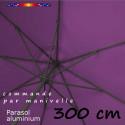 Parasol Lacanau 300 cm Alu Manivelle avec toile Violette : detail dessous