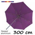 Parasol Lacanau 300 cm Alu Manivelle avec toile Violette : vu de dessous