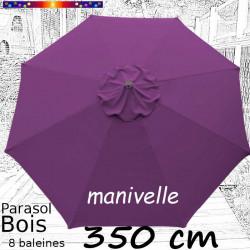Parasol Lacanau Violette 350 cm Bois Manivelle