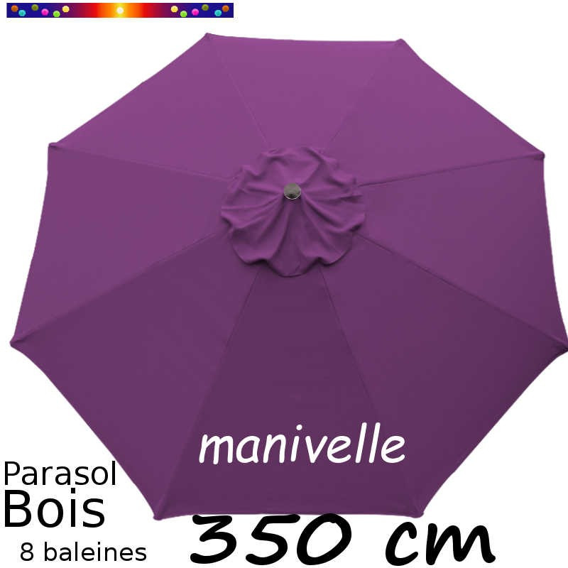 Parasol Lacanau Violette 350 cm Bois Manivelle : vu de dessus