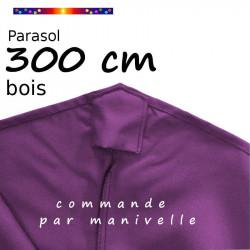 Parasol Lacanau Violette 300 cm Bois Manivelle : toile en bas des baleines