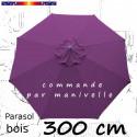 Parasol Lacanau Violette 300 cm Bois Manivelle : vu de dessus