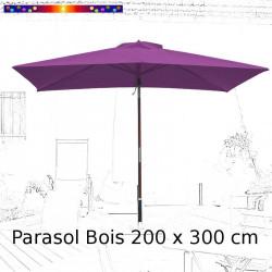 Parasol Lacanau Violette 200 x 300 cm Bois : vu face