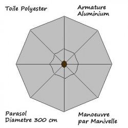 Parasol Lacanau rond (octogonal) Diamètre 300 cm en Aluminium à manœuvre par manivelle toile couleur Gris Souris : descriptif