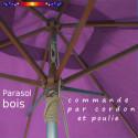 Parasol Lacanau Violette 200 x 300 cm Bois : commande par cordon et poulies