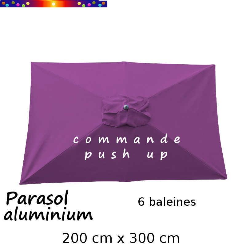 Parasol Lacanau Violette 200 x 300 cm Alu Push Up