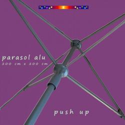Parasol Lacanau Violette 200 cm x 200 cm Alu : détail push up