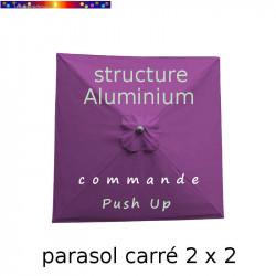 Parasol Lacanau Violette 200 cm x 200 cm Alu vu de dessus