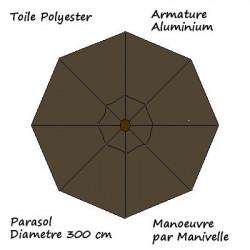 Parasol Lacanau rond (octogonal) Diamètre 300 cm en Aluminium à manœuvre par manivelle toile couleur Gris Taupe : descriptif
