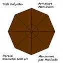 Parasol Lacanau rond (octogonal) Diamètre 300 cm en Aluminium à manœuvre par manivelle toile couleur Chocolat : descriptif