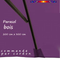 Parasol Lacanau Violette 200 x 300 cm Bois : baleine au centre de la largeur