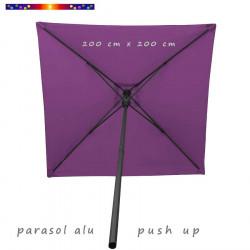 Parasol Lacanau Violette 200 cm x 200 cm Alu : vu de dessous