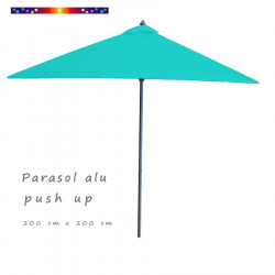 Parasol Lacanau Bleu Turquoise 200 cm x 200 cm Aluminium : vu de coté