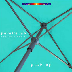 Parasol Lacanau Bleu Turquoise 200 cm x 200 cm Aluminium : détail du système d'ouverture