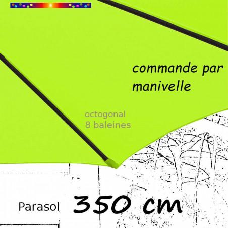Parasol Lacanau Vert Lime 350 cm Bois manivelle : fourreau de la toile en bout de baleine
