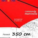 Parasol Lacanau Rouge Coquelicot 350 cm Bois Manivelle : détail du fourreau de la toile en bout de baleine