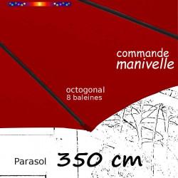 Parasol Lacanau Bordeaux 350 cm Bois à manœuvre par manivelle : vue sur le fourreau de la toile en bout de baleine