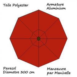 Parasol Lacanau rond (octogonal) Diamètre 300 cm en Aluminium manœuvre par manivelle toile couleur Rouge Terracotta : descriptif