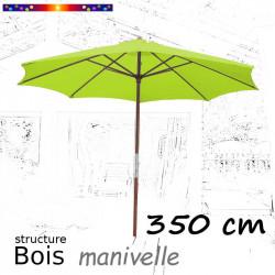 Parasol Lacanau Vert Lime 350 cm Bois manivelle : en position ouvert vu de face