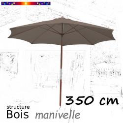 Parasol Lacanau Gris Taupe 350 cm structure Bois et manœuvre par manivelle : vu de face en position ouvert