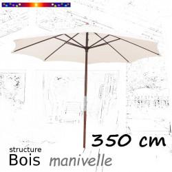 Parasol Lacanau Ecru Nature 350 cm structure Bois et manœuvre par manivelle : vu de face