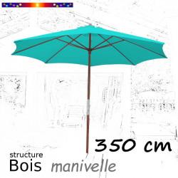 Parasol Lacanau Bleu Turquoise 350 cm structure Bois et manœuvre par manivelle : ouvert sur terrasse