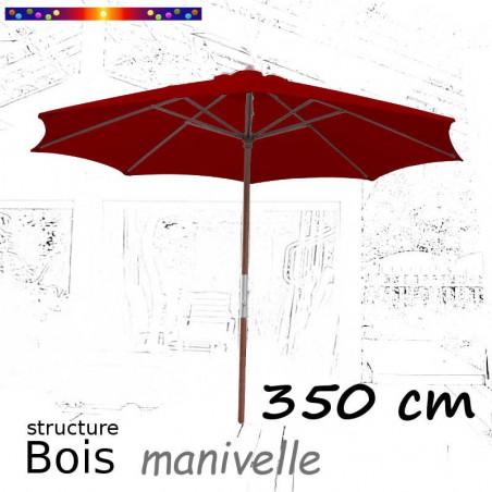 Parasol Lacanau Rouge Bordeaux 350 cm structure Bois et manœuvre par manivelle : en position ouvert
