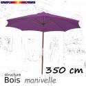 Parasol Lacanau Violette 350 cm Bois Manivelle : vu de