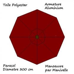 Parasol Lacanau rond (octogonal) Diamètre 300 cm en Aluminium à manœuvre par manivelle toile couleur Rouge Bordeaux : descriptif