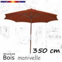 Parasol Lacanau Terracotta 350 cm structure Bois et manœuvre par manivelle : ouvert de face