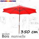 Parasol Lacanau Rouge Coquelicot 350 cm Bois à commande par manivelle