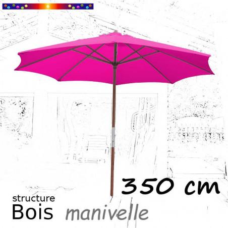 Parasol Lacanau Rose Fushia 350 cm structure Bois et manœuvre par manivelle : de face ouvert