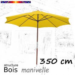 Parasol Lacanau Jaune d'Or 350 cm structure Bois et manivelle :parasol vu de face