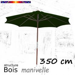 Parasol Lacanau Vert Pinède 350 cm structure Bois et manœuvre par manivelle : de face en poistion ouvert