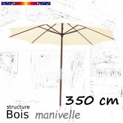 Parasol Lacanau Ecru Crème 350 cm structure Bois et manœuvre par manivelle : de face et ouvert