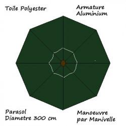 Parasol Lacanau rond (octogonal) Diamètre 300 cm en Aluminium à manœuvre par manivelle toile couleur Vert Pinède : descriptif