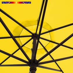Parasol Lacanau Jaune d'Or 350 cm Bois Manivelle : détail de la manœuvre par manivelle vu de dessous