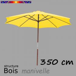 Parasol Lacanau Jaune d'Or 350 cm Bois Manivelle en position ouverte