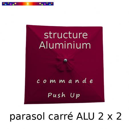 Parasol Lacanau Rouge Bordeaux 200 x 200 cm Alu : Toile vue de dessus
