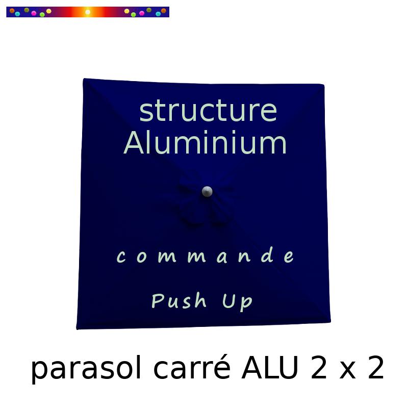 Parasol Lacanau Bleu Marine 200 x 200 cm Alu : Toile vue de dessus