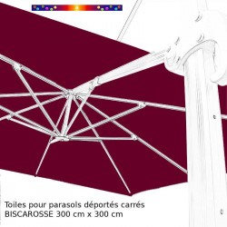 Toile en second choix : Toile 3x3 pour Parasol déporté Biscarrosse ROUGE BORDEAUX