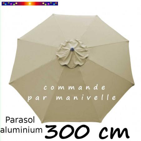 Parasol Lacanau Alu manivelle 300 cm couleur Soie grège