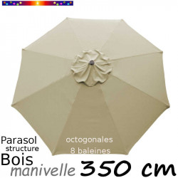 Parasol Lacanau Soie Grège 350 cm structure Bois et manivelle